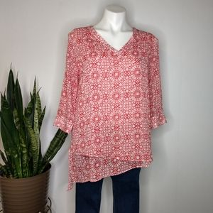 The Limited red & white floral sheer blouse size S